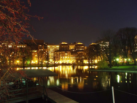 Night shot of buildings and lake with yellow and greenish light tones