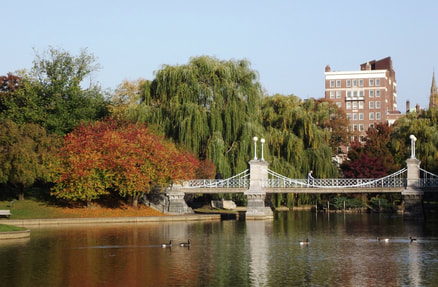 Picture of footbridge and lake at Boston Common