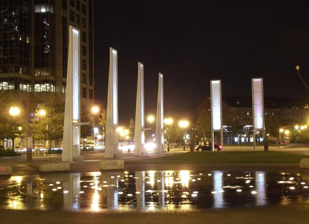 Night photography image of lights near Rose Kennedy park, Boston, MA