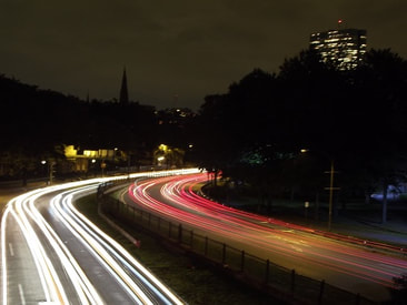 Night photography shot of light trails