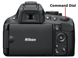 Picture showing the location of the mode dial on a Nikon Digital SLR camera