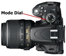 Picture showing location of Mode dial on a Nikon Digital SLR camera